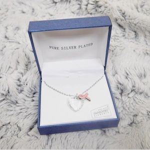 Accessories - Silver plated heart breast cancer necklace